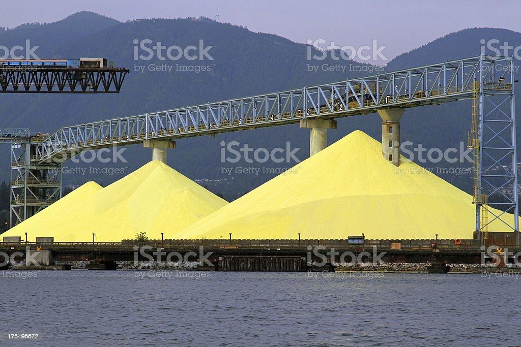 Sulphur Piles in Coal Harbour, British Columbia, stock photo