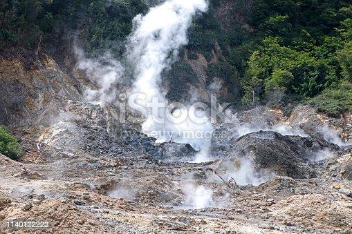 View of Sulphur Springs near Soufriere, Santa Lucia