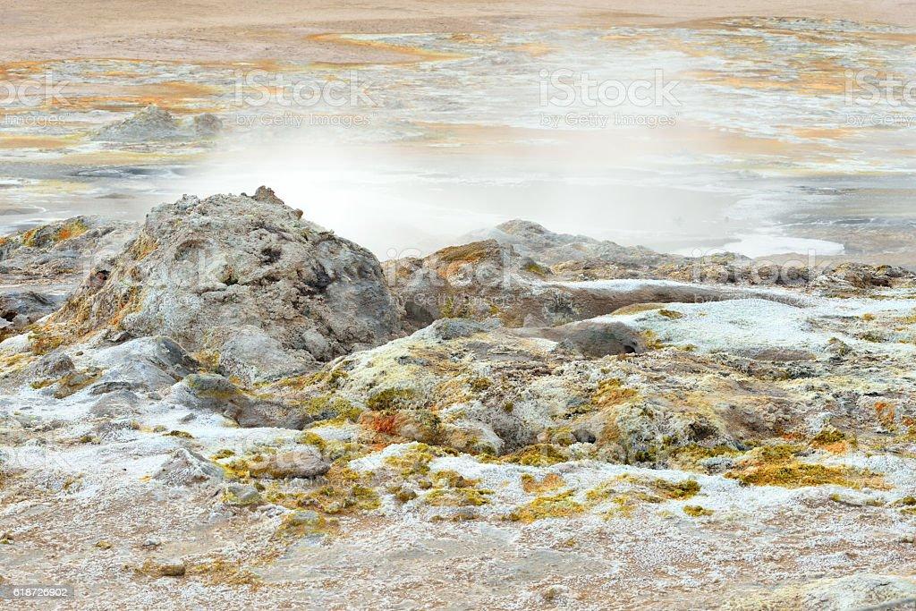 Sulphurous Scenery at Namaskard in Iceland stock photo