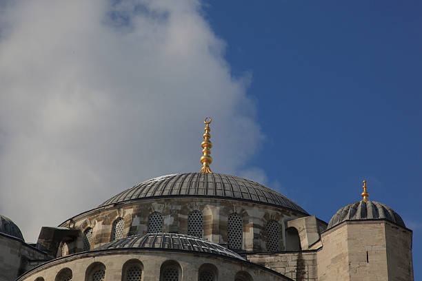 Sultan Ahmed Mosque dome and sky stock photo