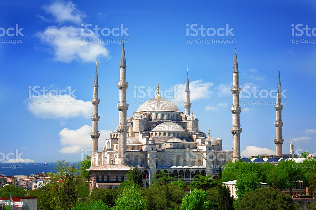 Sultan Ahmed Mosque (Blue mosque) in Istanbul, Turkey stock photo