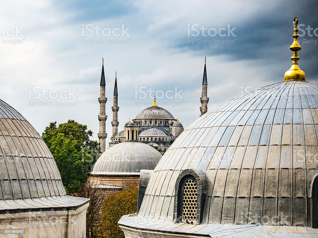 Sultan Ahmed Mosque or Blue Mosque in Istanbul stock photo