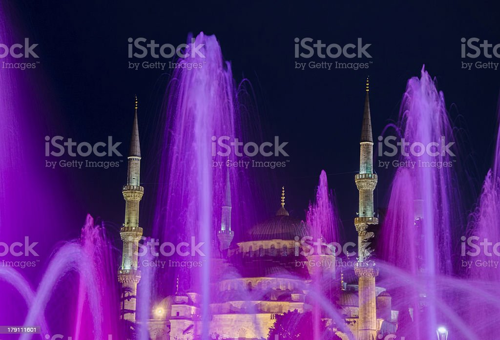 Sultan Ahmet Mosque Square and the colorful fountains ... royalty-free stock photo