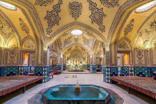 sultan amir ahmad historic bath, kashan, iran - türkische fliesen stock-fotos und bilder