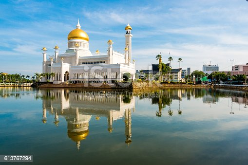 View of the Sultan Omar Ali Saifuddin Mosque, Brunei in the morning with reflection in the foreground