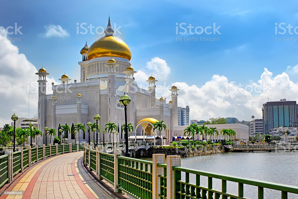 Sultan Omar Ali Saifuddin Mosque in Bandar Seri Begawan Brunei stock photo