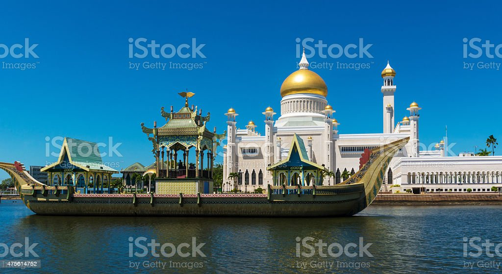 Sultan Omar Ali Saifuddin Mosque stock photo