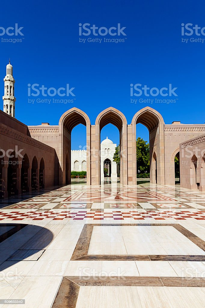 sultan qaboos grand mosque muscat oman stock photo