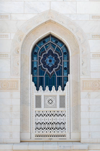 Sultan Qaboos Grand, Muscat, Oman Window on external wall of Sultan Qaboos Grand Mosque in Muscat, Oman grand mosque stock pictures, royalty-free photos & images