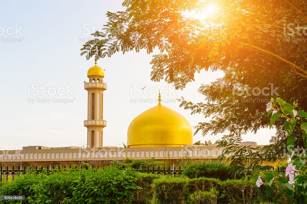 Sultan Qaboos Mosque against sunset stock photo