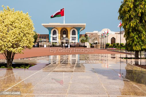 Muscat, Oman - November 1, 2018: Sultan Qaboos Royal Palace in Muscat with tourists and reflections on the marbles