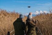 Kayseri,Türkey - December 02, 2017:People is walking and photographing with drone in Sultan Reedy National Park Kayseri Turkey.