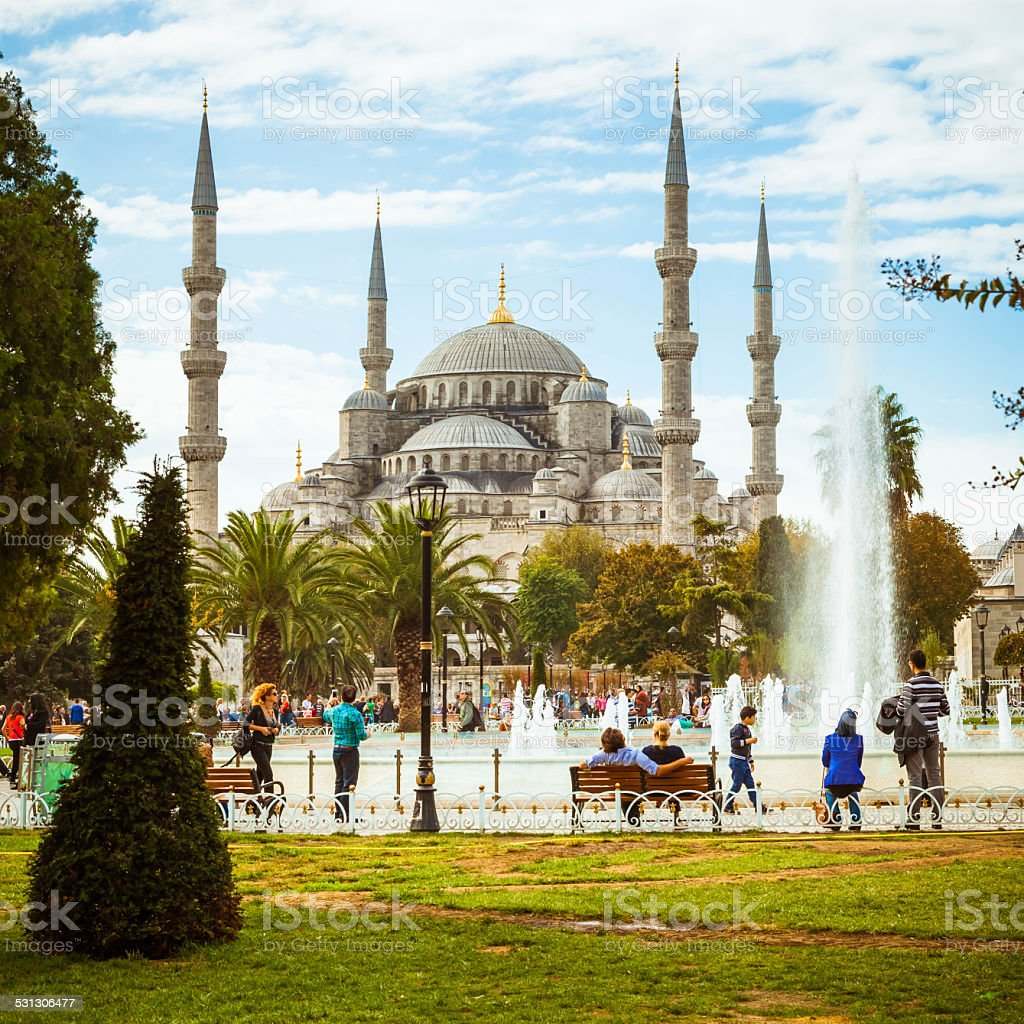 Sultanahmet park and the Blue Mosque in a sunny day stock photo