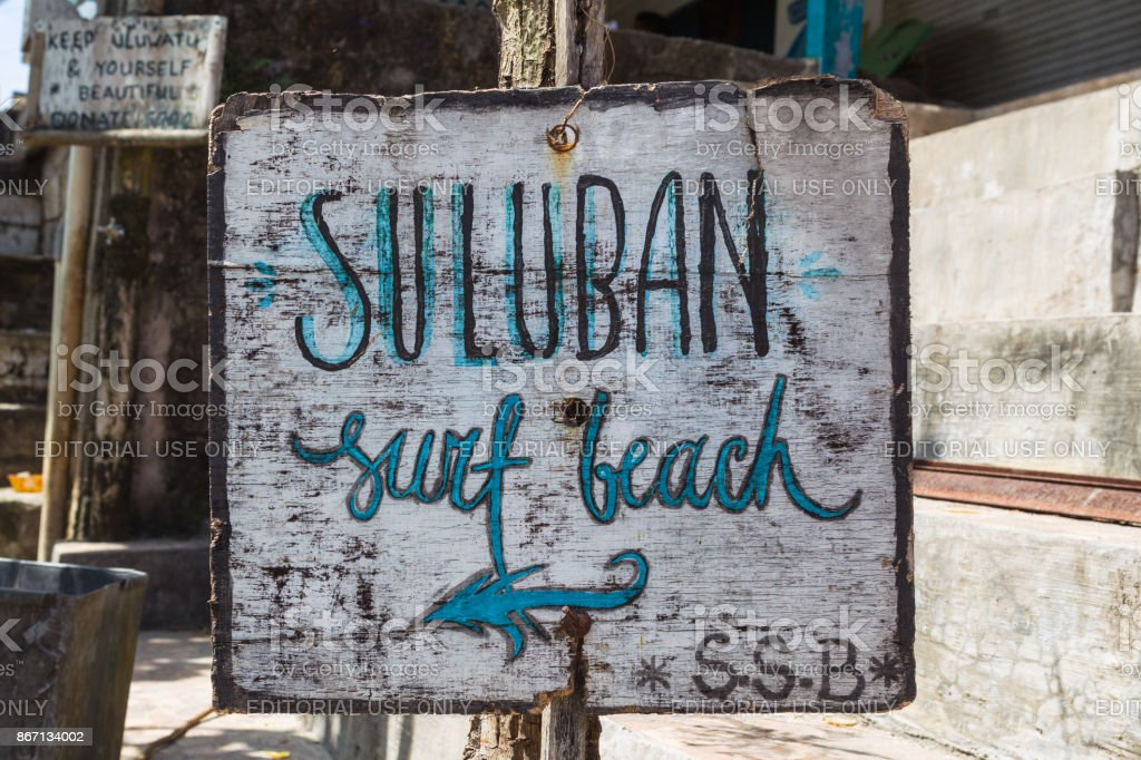 Suluban surf beach direction sign. Bali, Indonesia. stock photo