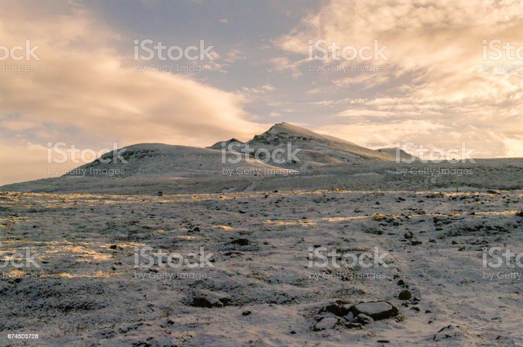 Sulur covered in snow, Akureyri, Iceland stock photo