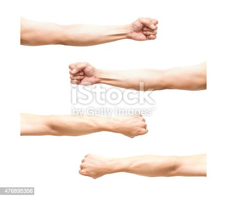 istock sum 4 pic of Arm in fist action on white 476895356