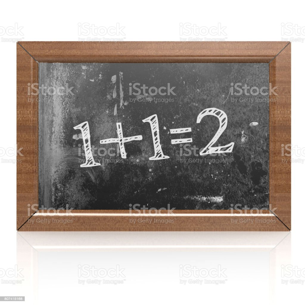 Sum one plus one equals two written on blackboard stock photo