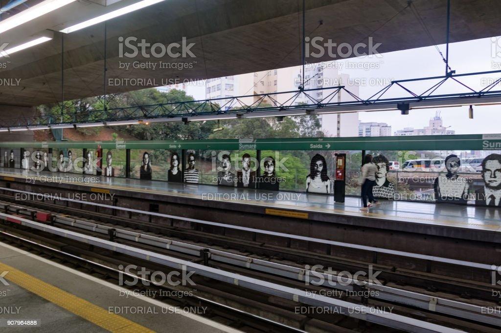 Sumare Subway Station  Platform - Sao Paulo, Brazil stock photo