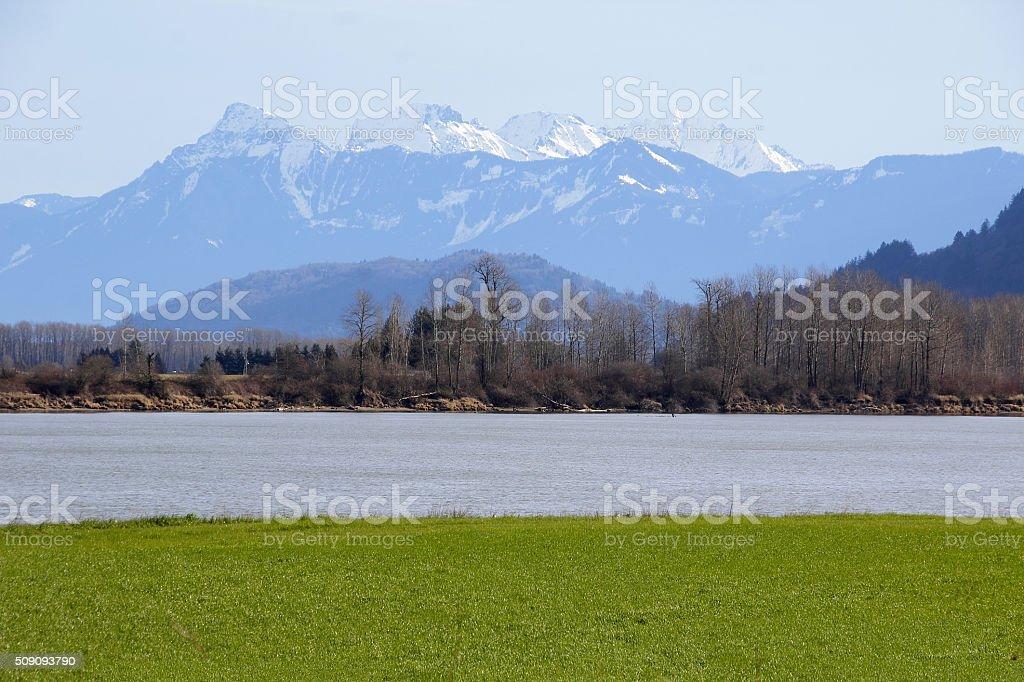 Sumas Mountains and Fraser River stock photo