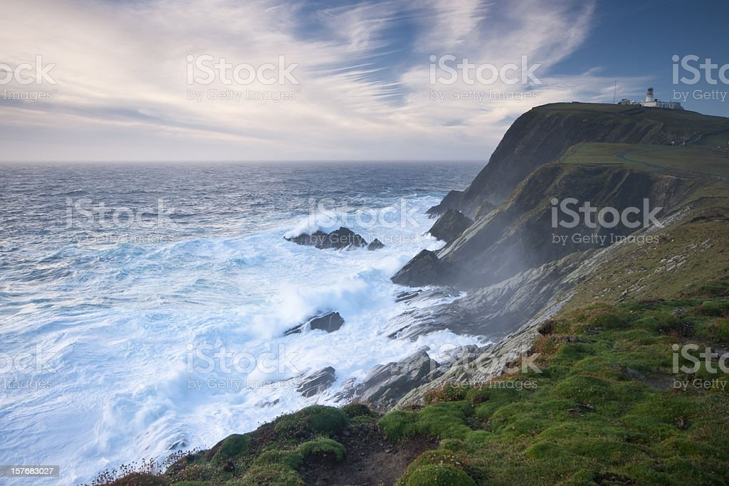 Sumburgh Head in stormy weather stock photo