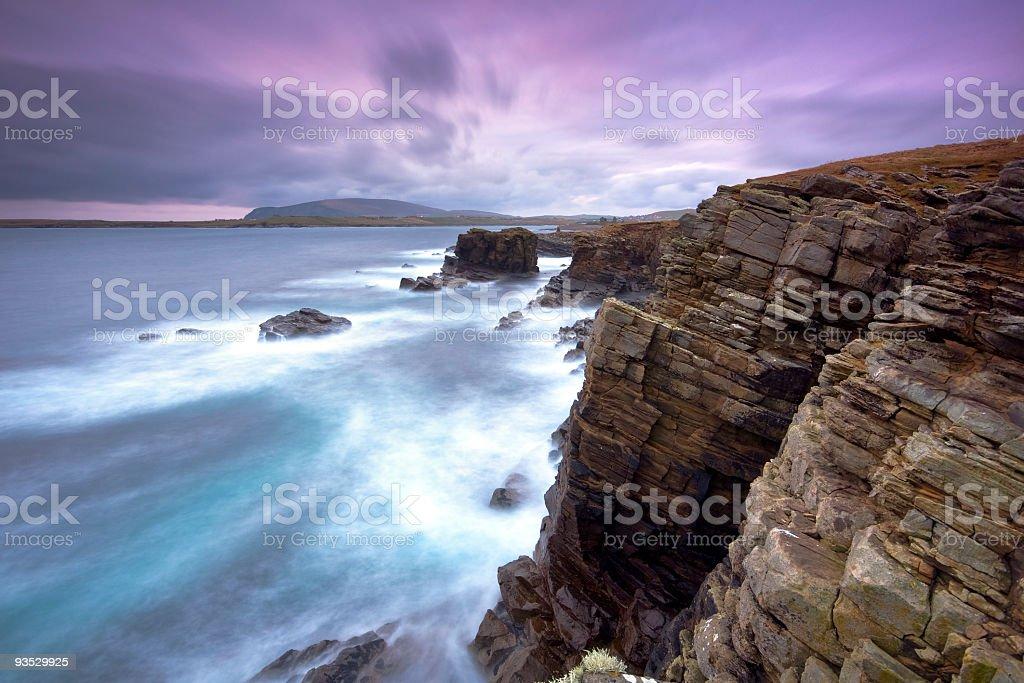 Sumburgh on the Shetlands past sunset stock photo