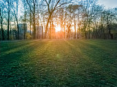 Sumice, Vozdovac, Belgrade, Serbia -  november 29, 2019: lawn in the park with the view on the sunset and sunlight, clouds on the sky and distant buildings through the autumn trees with bare branches