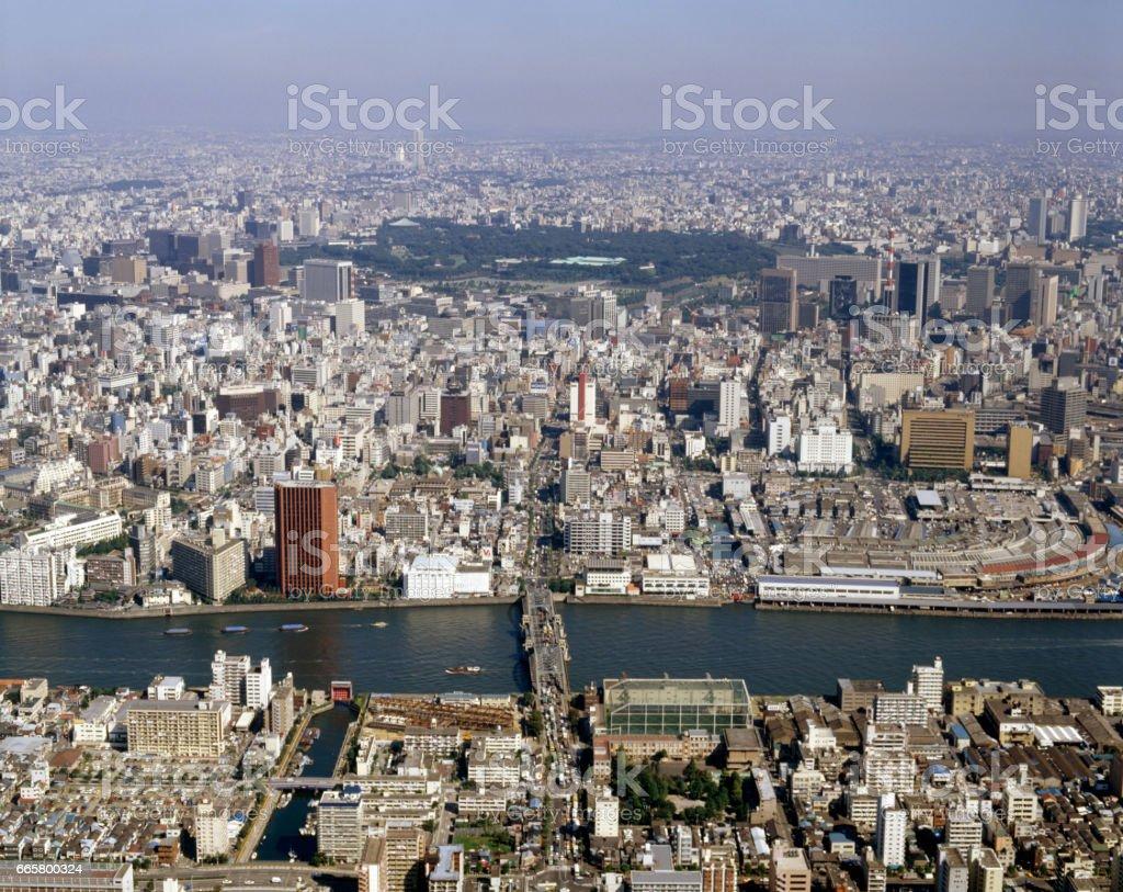 Sumida River and the kachidoki bridge stock photo