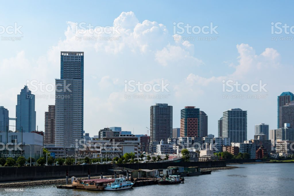 Sumida River district to see from Toyosu canal2 stock photo