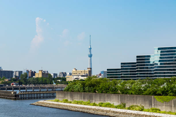 Sumida River district to see from Toyosu canal4 stock photo