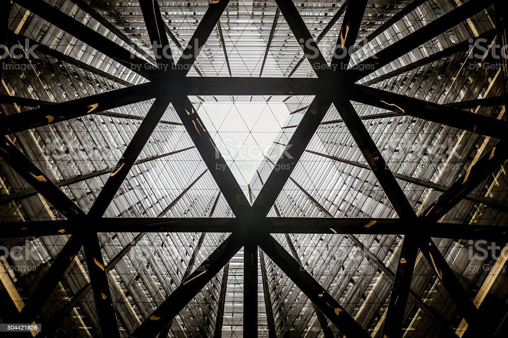 Sumitomo skyscrapper vertical internal atrium stock photo