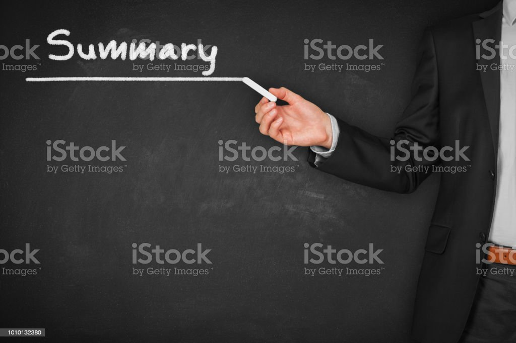 Summary heading stock photo