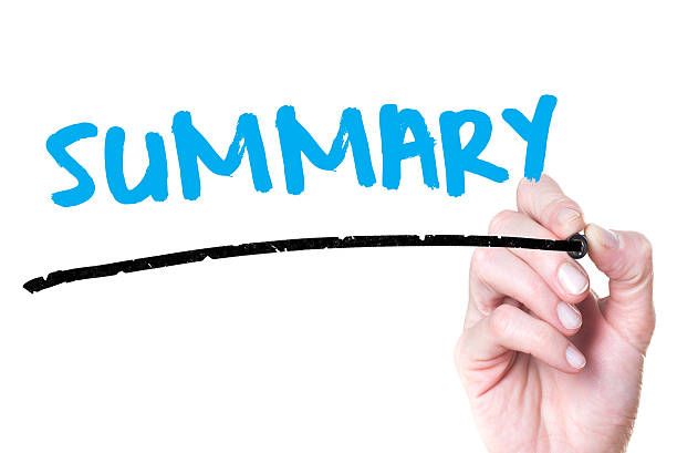 Summary Hand writing Summary with blue marker on transparent wipe board. abridgment stock pictures, royalty-free photos & images
