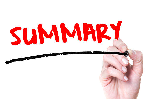 Summary Hand writing Summary with red marker on transparent wipe board. abridgment stock pictures, royalty-free photos & images