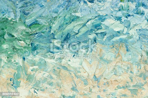 istock Summer abstract oil paint background. Sky, clouds,sea,beach. 656563402