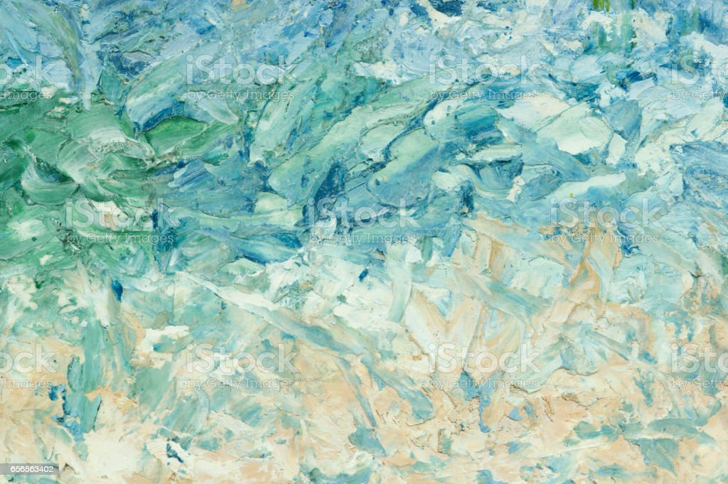 Summer abstract oil paint background. Sky, clouds,sea,beach. - foto de stock