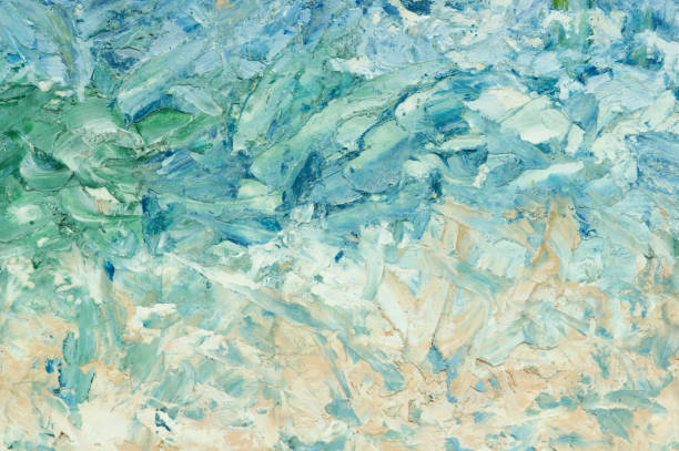 Summer abstract oil paint background. Sky, clouds,sea,beach. stock photo