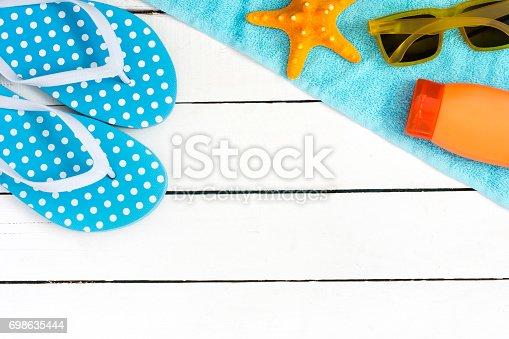istock Summer accessories Background. 698635444