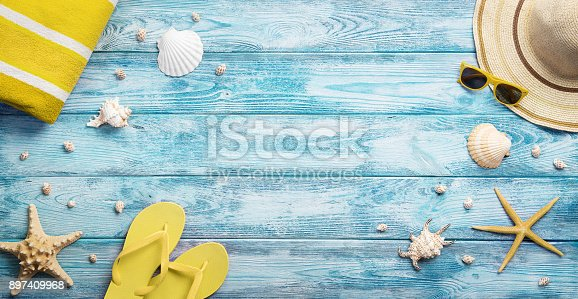 istock Summer accessories background 897409968