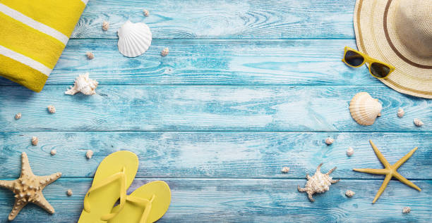summer accessories background - summer stock pictures, royalty-free photos & images