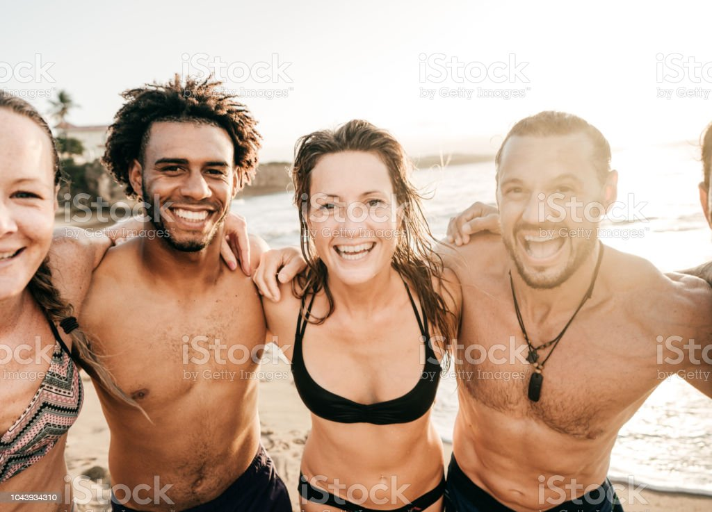 Summer adventure with friends stock photo