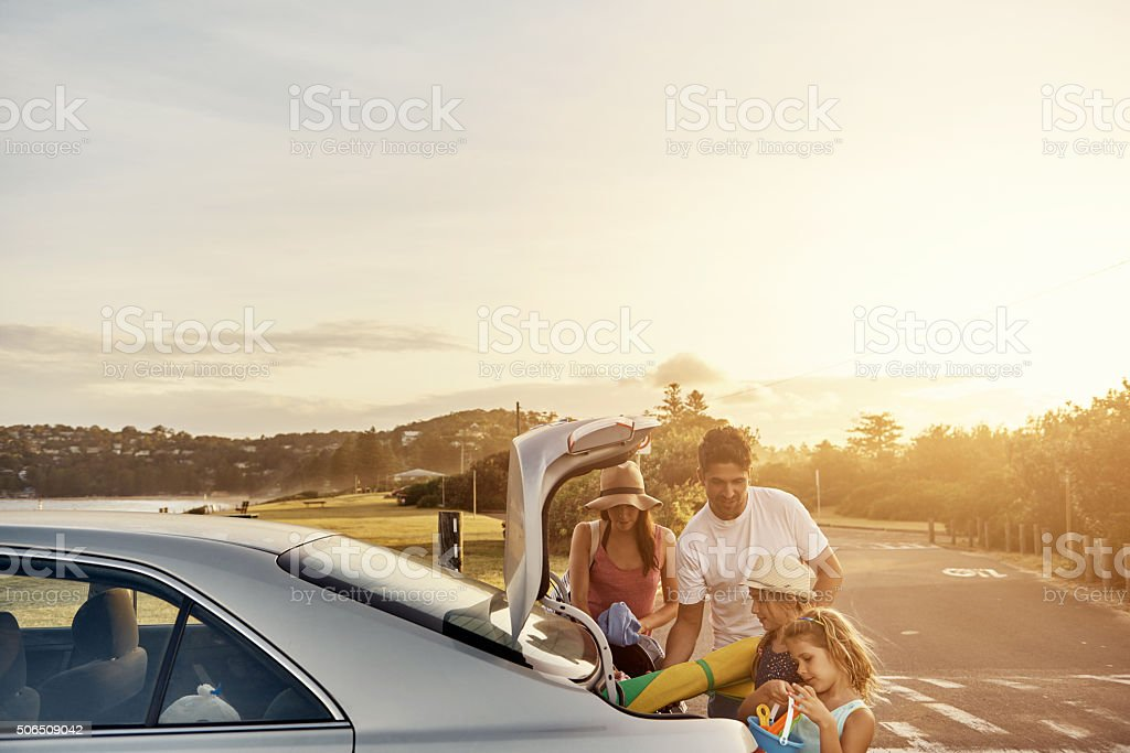 Summer adventures with family stock photo