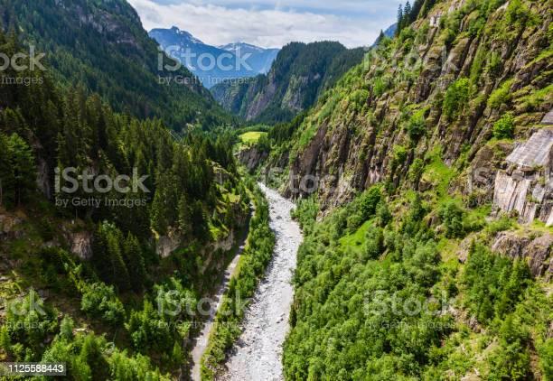 Photo of Summer Alps mountain landscape with river in deep ravine, Switzerland