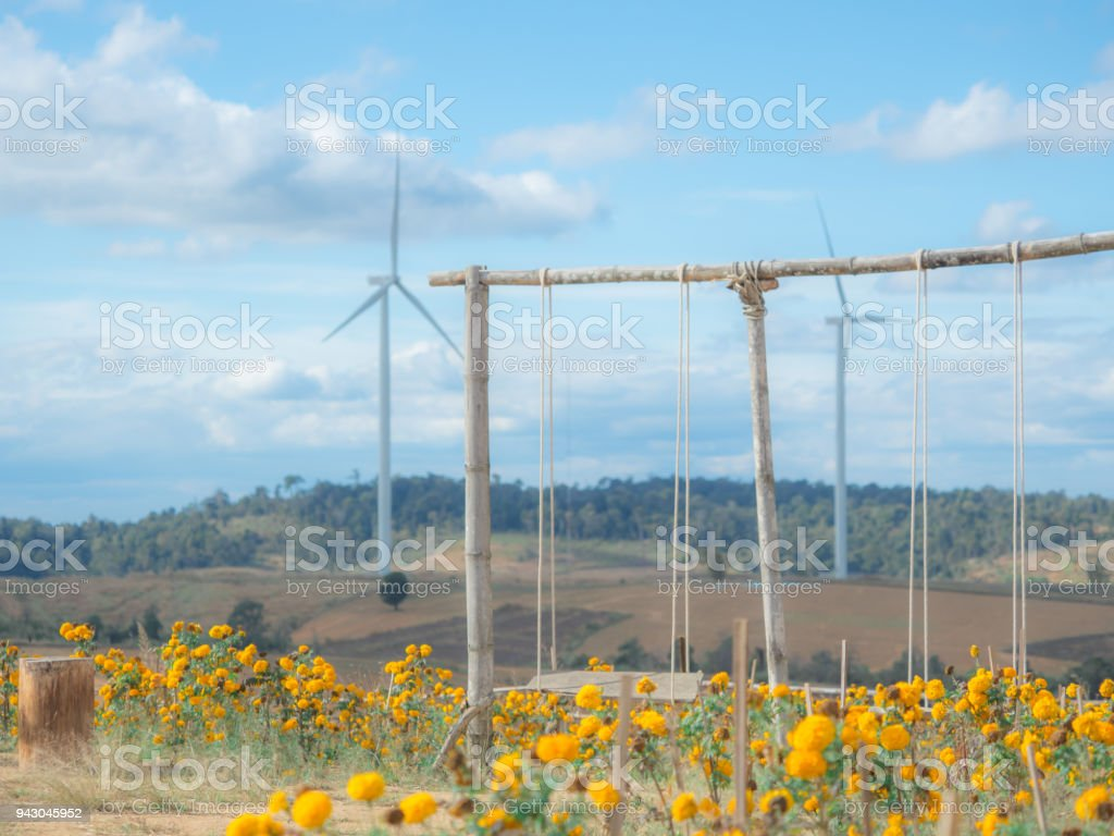 Summer And Asia Travel Concept From Classic Swing From Wooden Set On