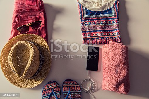 654680306 istock photo Summer and beach accessories 654693374