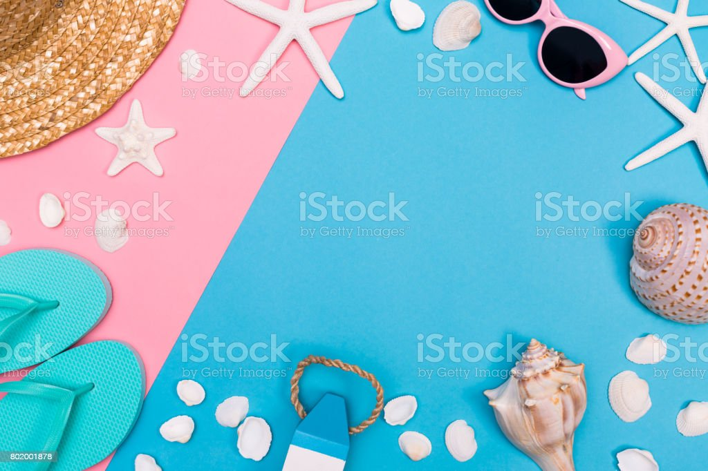 Summer and beach objects theme on a vibrant background stock photo