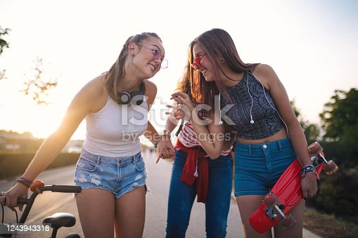 Three young girls on an outdoor adventure
