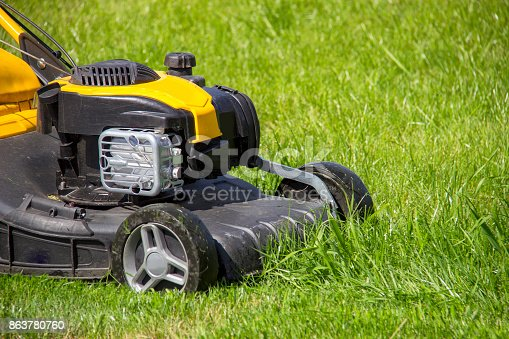 istock Summer and spring season sunny lawn mowing in the garden. 863780760