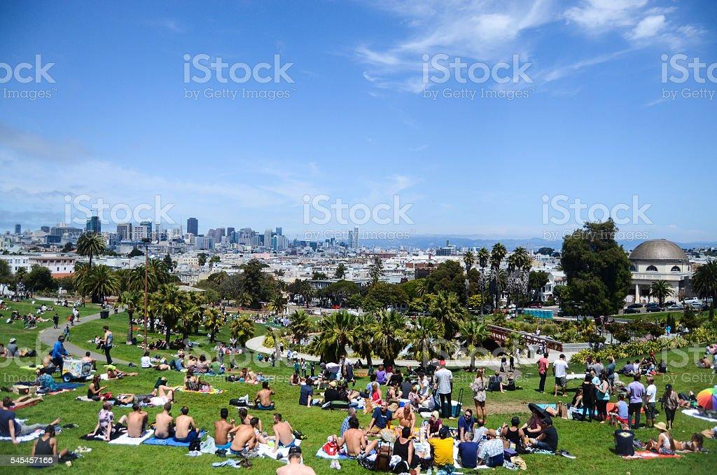 Summer at Dolores Park, San Francisco royalty-free stock photo