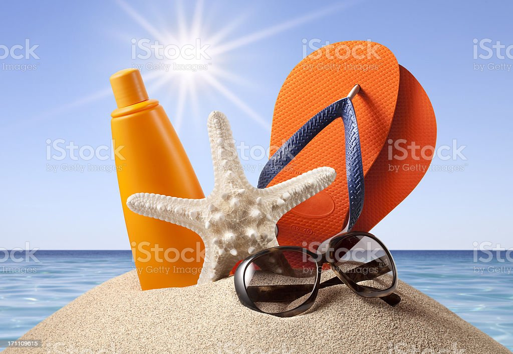 Summer at Sea. Beach accessories. royalty-free stock photo