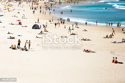 Summer at the beach and ocean, Bondi Beach is crowded with a large number of beachgoers on a hot Sunday afternoon, Sydney Australia, full frame horizontal composition with copy space